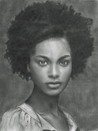 Retrato de belleza afroamericana, dibujo 21,59x27,94 cm 2012 (Javier Muñoz S)
