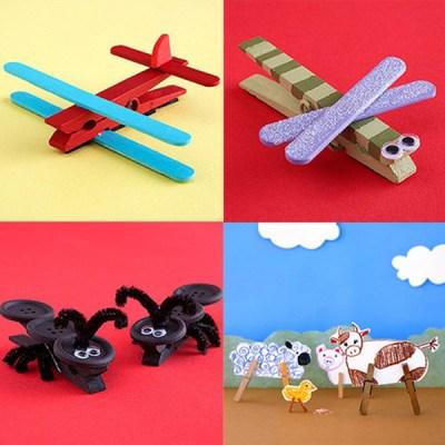 Ideas para Manualidades - Pequeños juguetes con pinzas