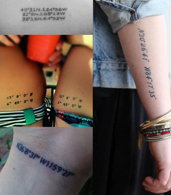 Tatuajes con coordenadas