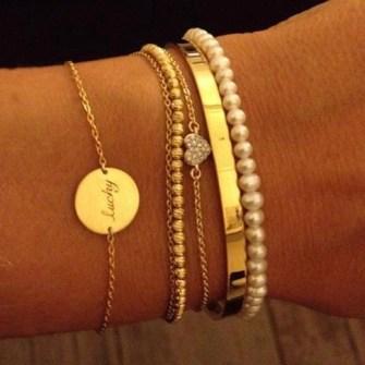 Pulseras de Tendencia - Pulseras finas en dorado con mini perlas