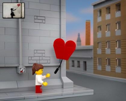 Fusión de Banksy y LEGO - Banksy Balloon Girl