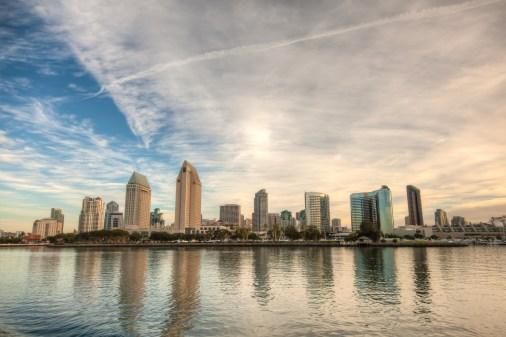 Skyline of San Diego, California on a bright sunny day.