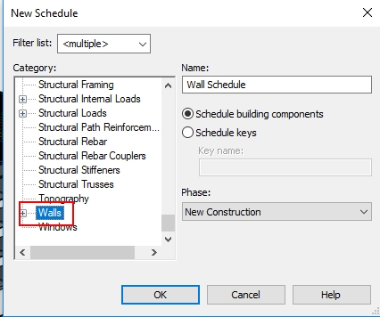 revit schedules