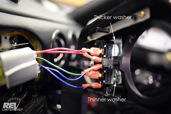 headlight motor wiring miata lenses for ray diagram physics revlimiter net mx 5 roadster na hazard switch install spacer washers