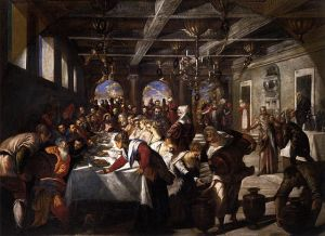 Jacopo Tintoretto - Marriage at Cana, 1561 available from wikipedia, for sermon on the best wine (foreshadowed by John 2) and the worst wine in Rev 19