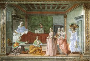"""The Birth of John the Baptist,"" fresco — 1486-1490 by Domenico Ghirlandaio (1449 – 1494) Available from https://www.artbible.info/art/large/581.html"