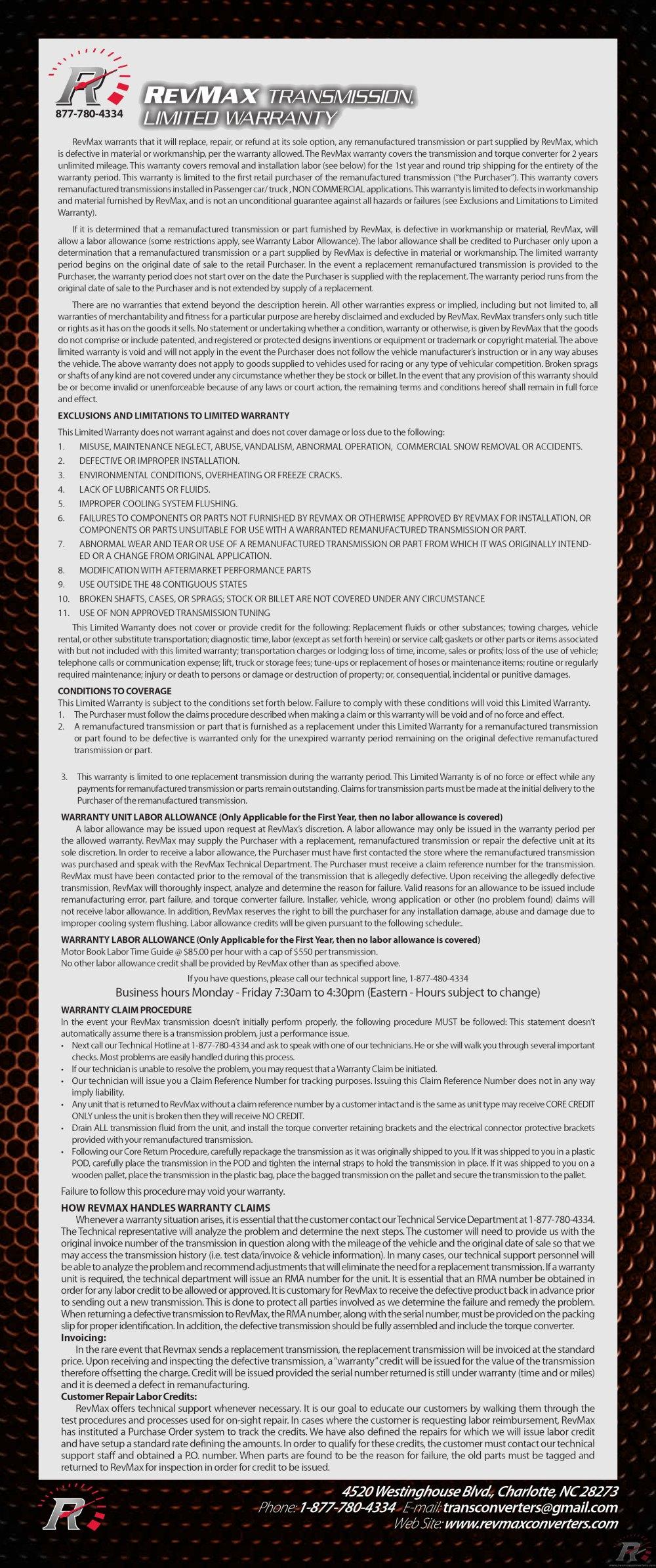 medium resolution of revmax warranty