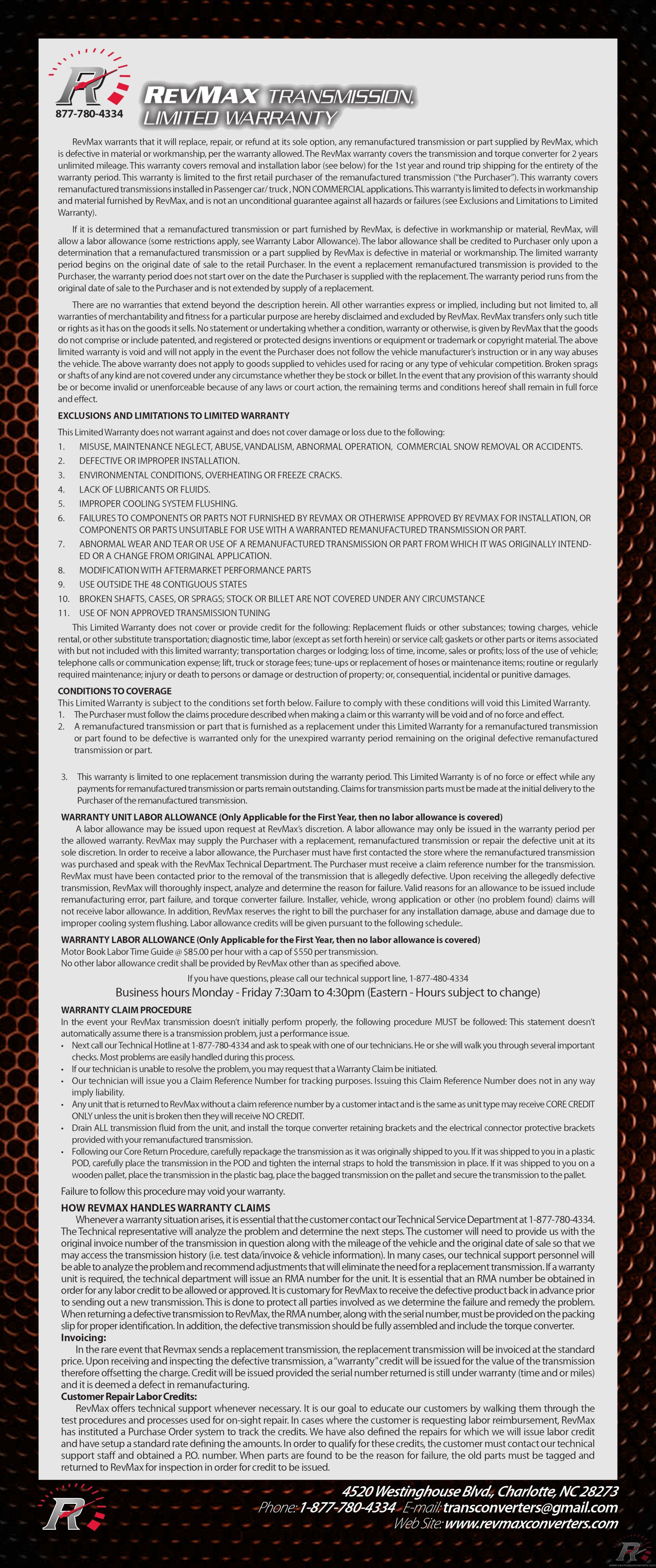 hight resolution of revmax warranty
