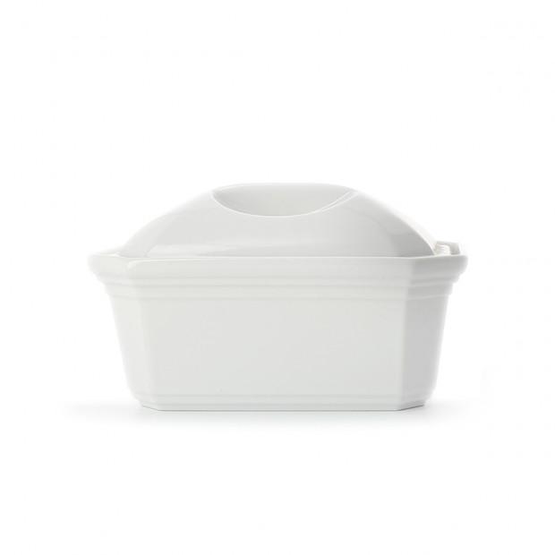 terrine pate rectangulaire en porcelaine blanche avec couvercle