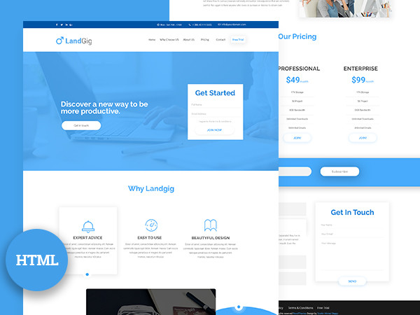 Landgig – Landing page template free HTML download