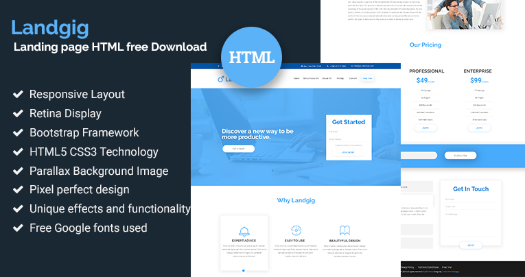 landgig landing page template free html download