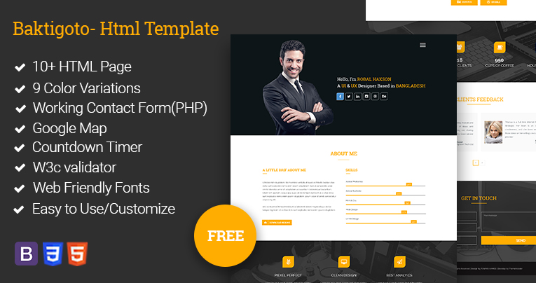 Baktigoto  Resume Html Template Free Download By Revolthmes