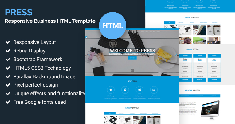 press responsive business html template free download - Html Templates Free Download