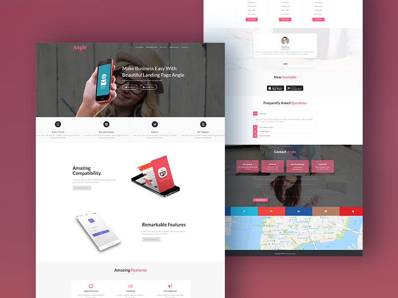 Angle - App Landing Page HTML/CSS Template Download