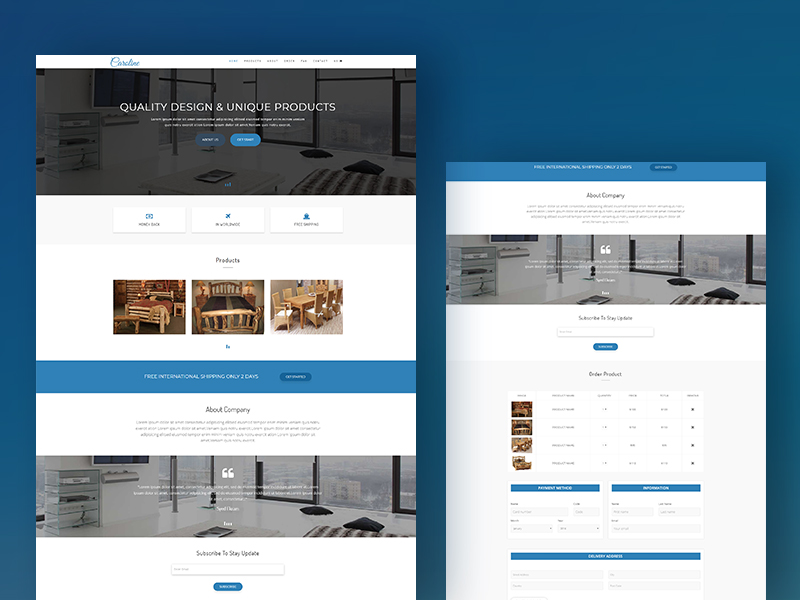 caroline bootstrap landing page template download revolthemes
