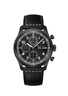 Image 26 - Navitimer 8 Chronograph Blacksteel with black dial and black leather strap