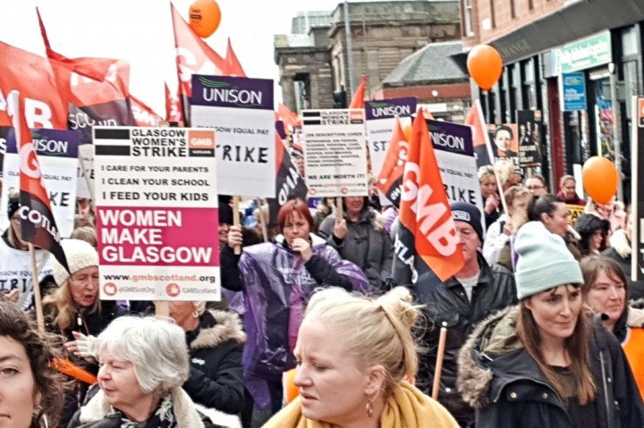 Glasgow council workers strike for equality