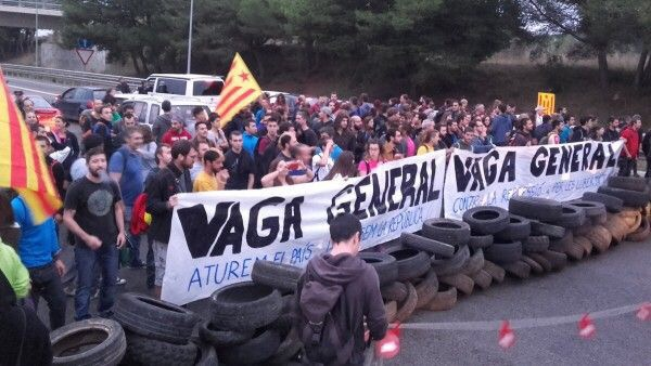 Barricades of tires for General Strike. in Catalonia