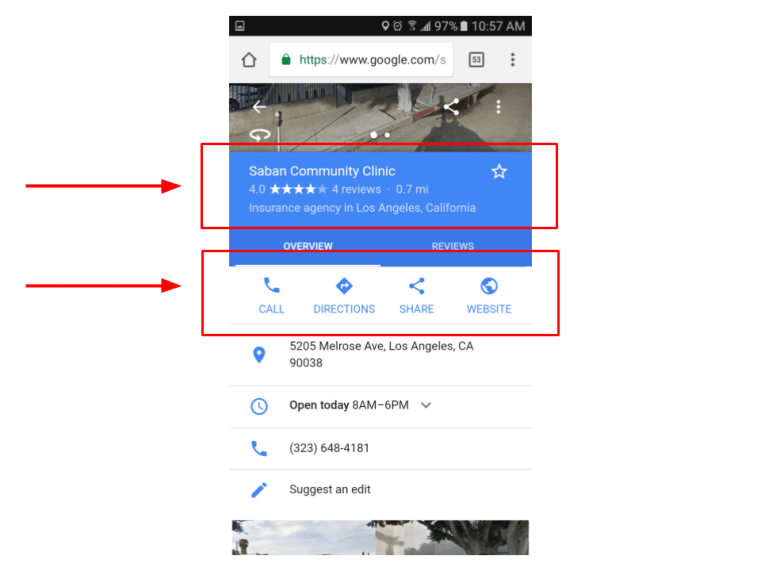Finding a Health Center with Google Maps on