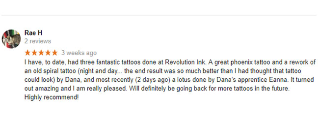 Rae H 5 Star Tattoo Review Google