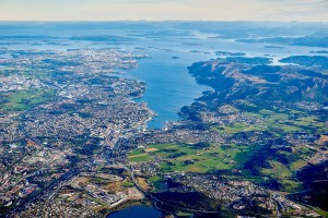 aerial shot of a town and lake needing protection from environmental issues