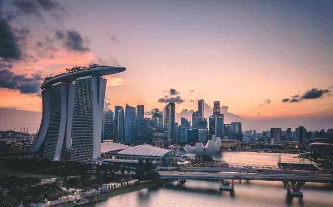 A photo of the skyline of Marina Bay Sands, Singapore