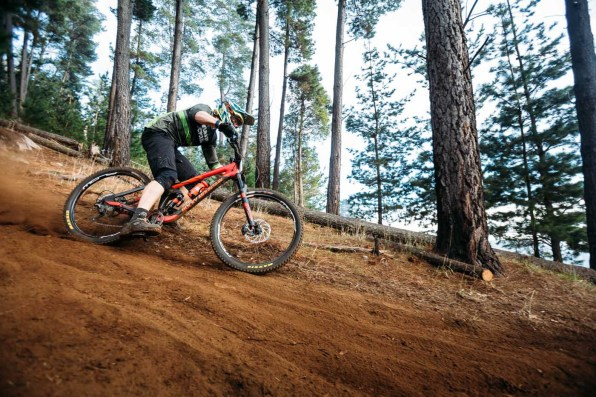 Murray Dickson, foot out flat out in the off-camber woods