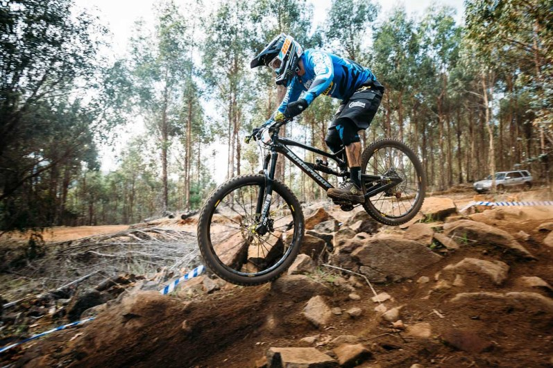 Sam Hill. You'd never suspect that he was riding the trails with zero practice, sending it into blind rock gardens at race speed