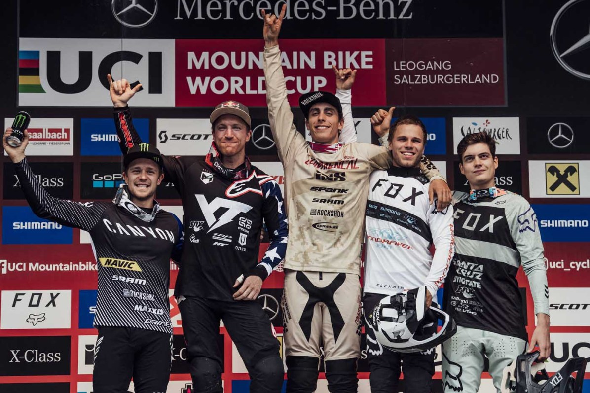 Troy Brosnan, Aaron Gwin, Amaury Pierron, Laurie Greenland, Loris Vergier stand on the podium at UCI DH World Cup in Leogang, Austria on June 10th, 2018 // Bartek Wolinski/Red Bull Content Pool