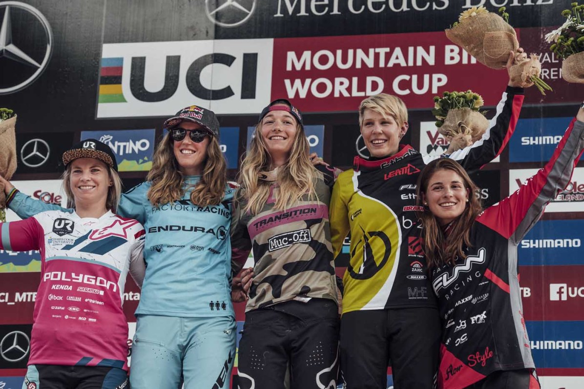 Tracey Hannah, Rachel Atherton, Tahnee Seagrave, Monika Hrastnik, Veronika Widmann stand on the podium at UCI DH World Cup in Val di Sole, Italy on July 7th, 2018 // Bartek Wolinski/Red Bull Content Pool // AP-1W72K2RP12111 // Usage for editorial use only // Please go to www.redbullcontentpool.com for further information. //