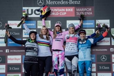 Marine Cabirou, Rachel Atherton, Tahnee Seagrave, Tracey Hannah, Monika Hrastnik stand on the podium at UCI DH World Cup in Maribor