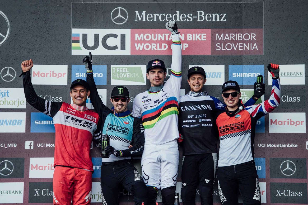 Charlie Harrison, Danny Hart, Loic Bruni, Troy Brosnan and Matt Walker are standing on the podium at UCI DH World Cup in Maribor, Slovenia on April 28th, 2019 // Bartek Wolinski/Red Bull Content Pool