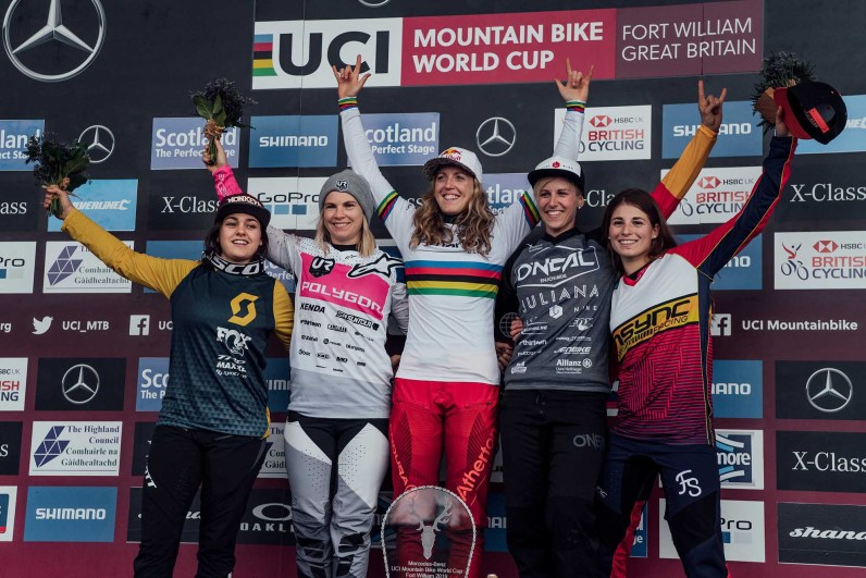Marine Cabirou, Tracey Hannah, Rachel Atherton, Nina Hoffmann, Veronika Widmann stand on the podium at UCI DH World Cup in Fort William, Great Britain on June 2nd, 2019 // Bartek Wolinski/Red Bull Content Pool // AP-1ZHAP4DXH2111 // Usage for editorial use only // Please go to www.redbullcontentpool.com for further information. //