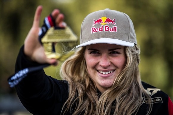 Valentina Hoell celebrating her win of the downhill race during Crankworx World Tour in Innsbruck, Austria on October 5, 2020. // Boris Beyer / Red Bull Content Pool // SI202010050209 // Usage for editorial use only //