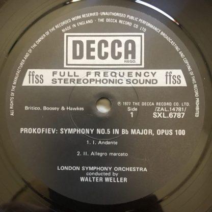 SXL 6787 Prokofiev Symphony No. 5 / Walter Weller / LSO