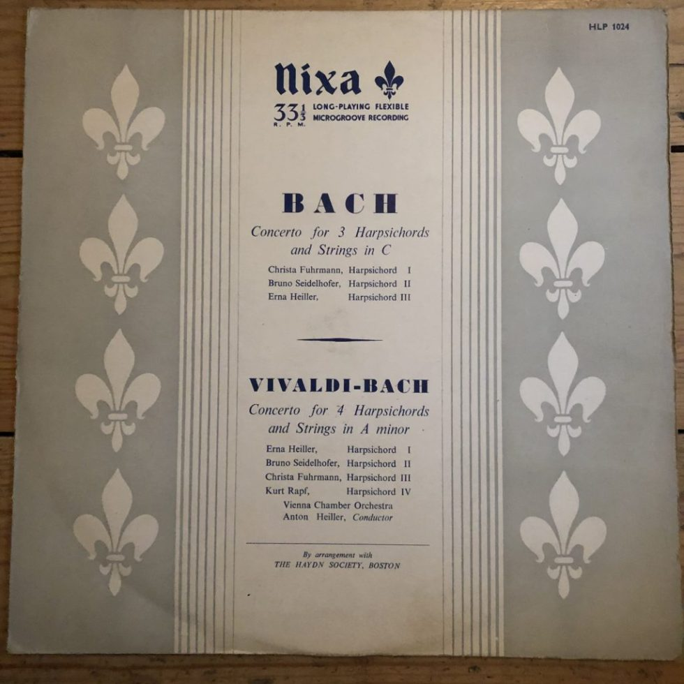 HLP 1024 Bach Concerto For 3 Harpsichords