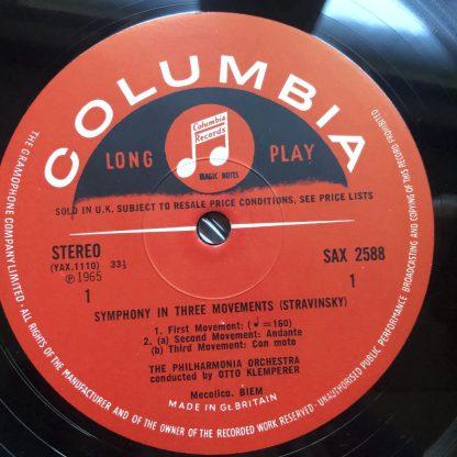 SAX 2588 Stravinsky Symphony in Three Movements etc. / Klemperer E/R
