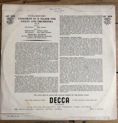 LXT 2970 Tchaikovsky Violin Concerto Mischa Elman