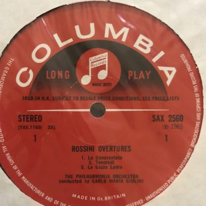 SAX 2560 Rossini Overtures / Giulini / Philharmonia E/R