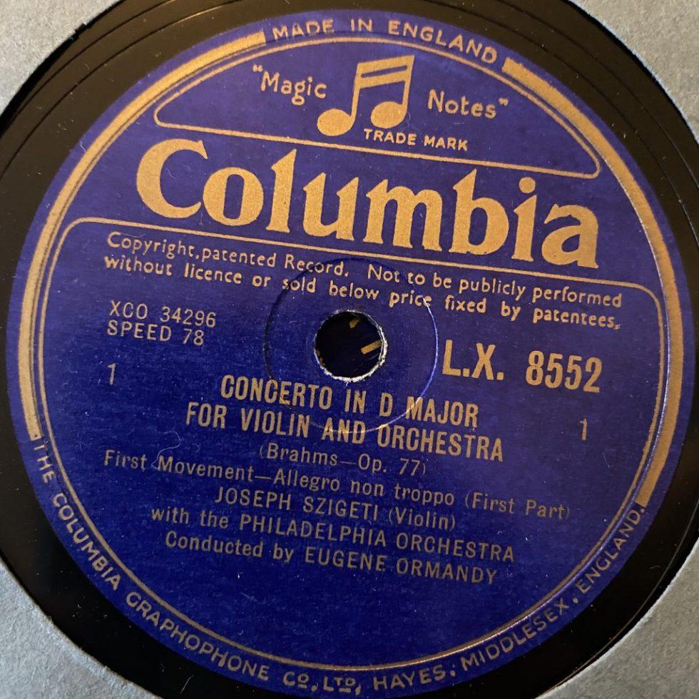 LX 6552/56 Brahms Violin Concerto / Szigeti