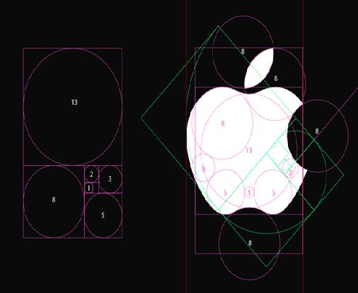 Apple and Golden Ratio, Golden Rectangle, Fibonacci Sequence in the Design-3