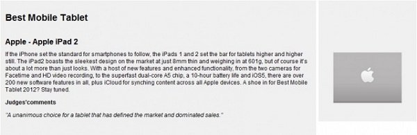The iPad 2 Received MWC2012 Best Tablet PC Awards