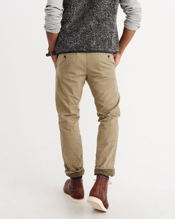 Slim Straight Flannel-lined Chino Pants - Abercrombie & Fitch Reve