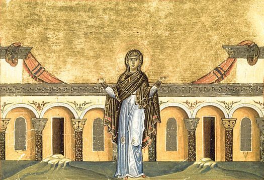 Painting depicting Syncletica of Alexandria, from the Menologion of Basil II (c. 1000)