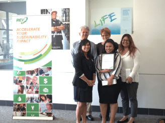 The Bay Street Mall receives their certificate of completion from Dianne Martinez, Mayor of Emeryville.