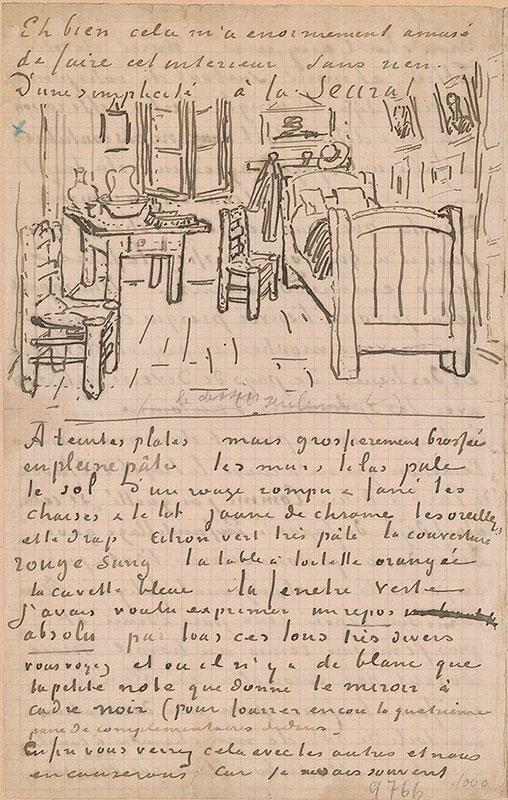 Lettre de Van Gogh destinée à Gauguin, à propos de sa chambre à Arles