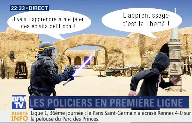Création personnelle de Jocelyn qui a détourné une capture d'écran de BFM TV d'un CRS poursuivant un jeune lors d'une manifestation, en mettant dans le fond une image libre de droits de la tunisie et un sabre laser dans les mains du CRS