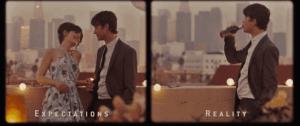 Image du film (500)jours ensemble, montrant les attentes du personnage principal : son couple, et la réalité : sa solitude
