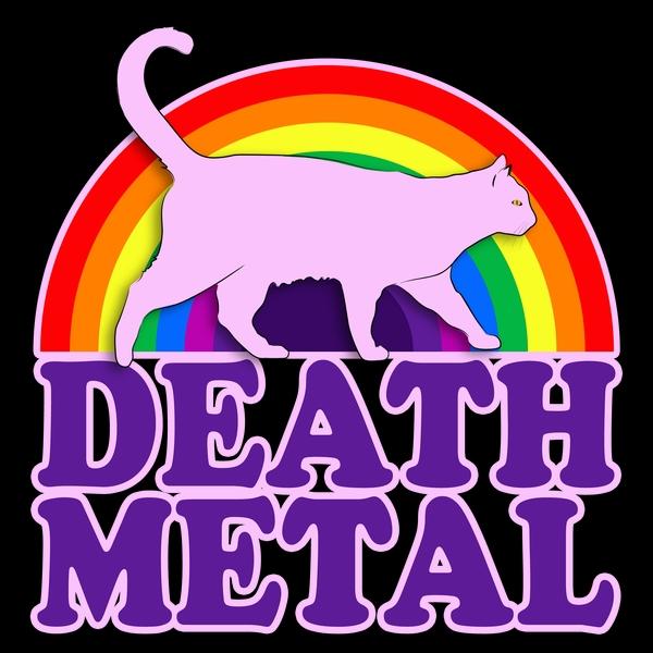 """Illustration d'un petit chat rose derrière un arc-en-ciel marchant sur les mots """"Death Metal"""""""
