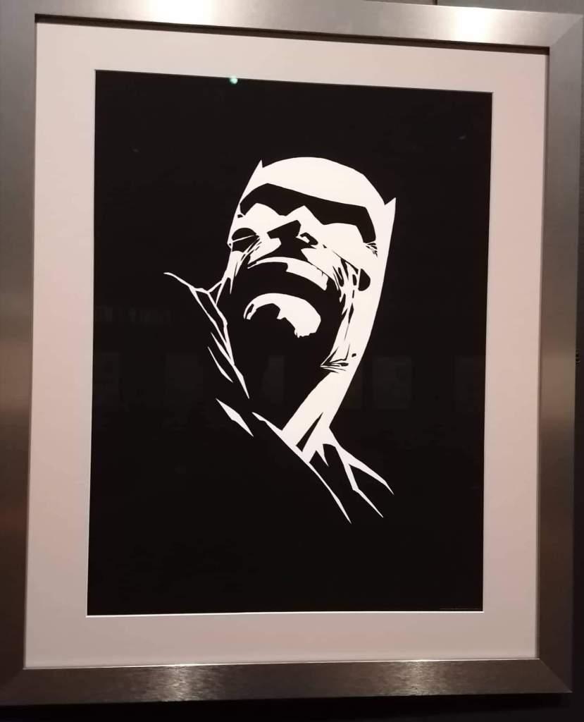 Tableau de Batman de Franck Miller en blanc sur fond noir